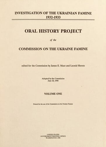 Commission on the Ukraine Famine: Selection of Digitized Oral Histories