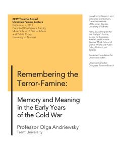 2019 Toronto Annual Ukrainian Famine Lecture by Olga Andriewsky