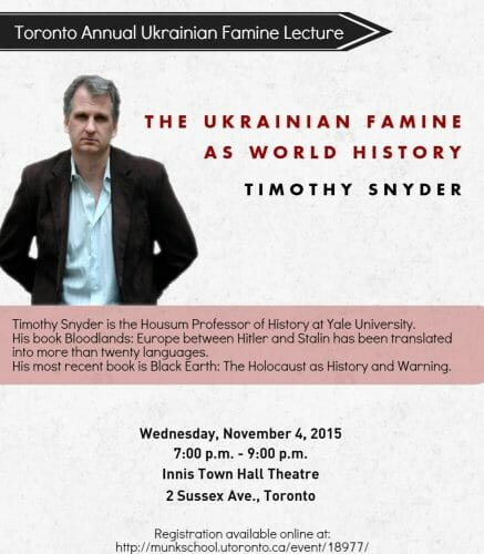 Main image 2015 Toronto Annual Ukrainian Famine Lecture by Timothy Snyder