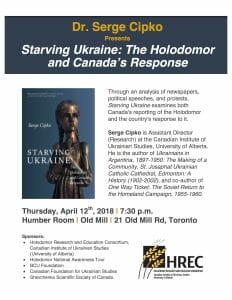 """Launch of Serge Cipko's book """"Starving Ukraine: The Holodomor and Canada's Response"""""""