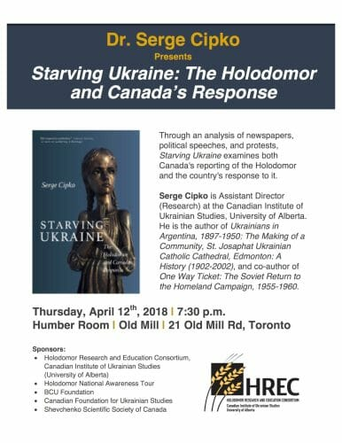 """Main image Launch of Serge Cipko's book """"Starving Ukraine: The Holodomor and Canada's Response"""""""